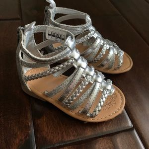 Toddler girls metallic silver gladiator sandals